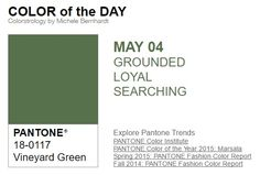 ...y el color de hoy es Verde Viñedo, un color conectado a la tierra, leal, buscador. Más info en http://www.pyma.com/tutoriales-y-trucos/y-los-colores-pantone-de-esta-semana-sonsemana-del-2-al-8-de-mayo/