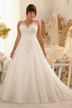 Sweetheart Lace Bodice A Line Plus Size Wedding Dress