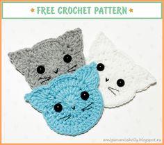 Аппликация Кот крючком. Описание вязания.Free crochet pattern for beginners. Crochet applique cat