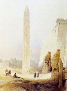 En 1838, el pintor inglés David Roberts dibujó la fachada del templo de Luxor
