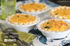 Mini Broccoli, Cheddar and Bacon Quiche 4 text  love how all steps are so gorgeously photographed
