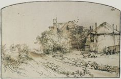 Rembrandt van Rijn, A haystack near a farm, c. 128 x 200 mm. Rembrandt Etchings, Rembrandt Art, Rembrandt Drawings, Rembrandt Paintings, Nature Sketch, Nature Drawing, Leiden, Baroque Art, Dutch Painters