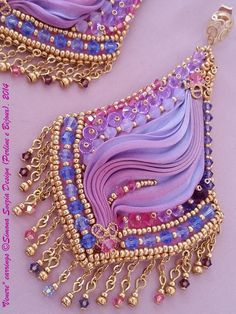 Lavender and violet Perline e Bijoux: Tutorial VENERE orecchini con seta shibori / VENERE earrings with shibori silk and tutorial Ribbon Jewelry, Soutache Jewelry, Bead Jewellery, Fabric Jewelry, Beaded Earrings, Earrings Handmade, Jewelry Crafts, Beaded Jewelry, Handmade Jewelry