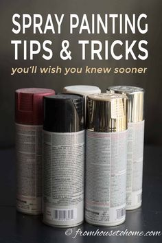 Learn how to spray paint evenly and without drips using these spray painting tips and tricks. Whether you are painting metal or wood, furniture or glass, indoors or outdoors, these techniques will help you get a great finish. Spray Paint Tips, Spray Paint Wood, Spray Paint Furniture, Metallic Spray Paint, White Spray Paint, Spray Painting Metal, Paint Metal, Drip Painting, Painting Tips