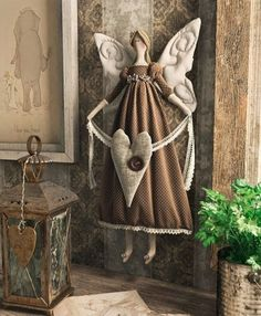 Full image of Tilda doll on style vintage - # style Handmade Angels, Handmade Toys, Doll Crafts, Diy Doll, Christmas Angels, Christmas Crafts, Angel Crafts, Theme Noel, Sewing Dolls