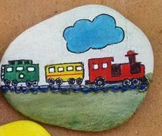 Train painted rock
