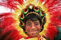 England, London, Carnaval Del Pueblo Festival Europes largest Latin Street Festival, Boy in Bolivian Festival Costume
