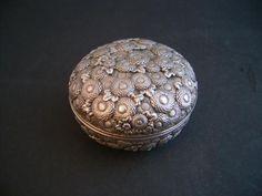 JAPANESE PURE SILVER CHRYSANTHEMUM KOGO INCENSE BOXSOLD - Oriental Treasure Box