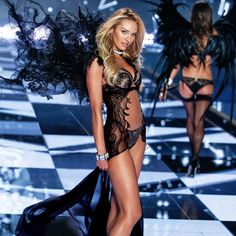 Dark Angel: Candice Swanepoel is decked out in black lace & just a little bit of sparkle. | Designer Collection Bra & Matching Panty with Swarovski crystals