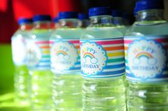 water bottles with labels