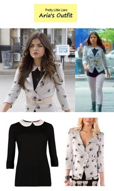"On the blog - Aria Montgomery's (Lucy Hale) skull printed blazer and peter pan collar blouse | Pretty Little Liars - ""Now You See Me, Now You Don't"" (Ep. 412)"