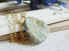 Sage Green Druzy Necklace Pale Green Crystal Geode by MsBsDesigns