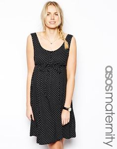 Image 1 of ASOS Maternity Exclusive Swing Dress In Spot With Tie Belt And Button Placket
