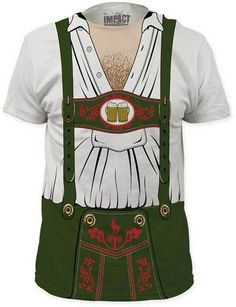 Grab a beer stein and this tee and you're all set for Oktoberfest! Lederhosen Beer Fest Costume Adult T-Shirt - White #Oktoberfest #October #Costume