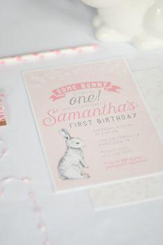 Some Bunny's Turning One Birthday Invitation - First Birthday Invitation, Girl Birthday Invitation