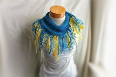 Spring knit  cotton  Scarf with heavy fringe by 910woolgathering,
