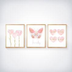 Butterfly, Flowers and Hearts Artwork, Set of 3 Inspirational Prints Butterfly Artwork, Heart Artwork, Butterfly Wall Decor, Butterfly Flowers, Blush Nursery, Pink Abstract, Gold Letters, Linen Pillows, Heart Print