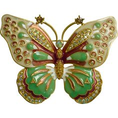 Kenneth Jay Lane Large Enamel and Rhinestones Butterfly Brooch Butterfly Fashion, Butterfly Jewelry, Natural Form Art, Bug Insect, Upper Crust, Embellished Shoes, Bugs And Insects, Kenneth Jay Lane, Enamel Jewelry