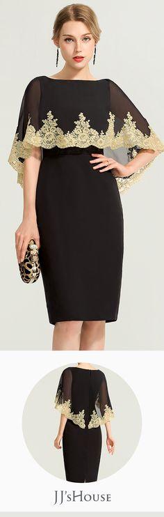 Sheath Column Scoop Neck Knee-Length Lace Cocktail Dress  JJsHouse   CocktailDresses 9b036dec7d0