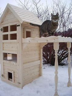 Cat House Cat Tower Cat Cave Scratching Tree Solid Natural