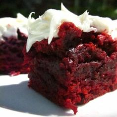 Red Velvet Brownies with white chocolate icing. Oh yes!