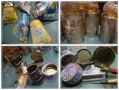*リメイク缶の作り方* VOL.1 : 加工編 | chouchouboo's blog Tin Can Alley, Diy Cans, Aluminum Cans, Alley Cat, Antique Paint, Super Natural, Clay Pots, Nespresso, Vintage Antiques