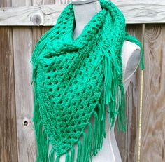 crochet shawl triangle scarf in bright green hand crocheted