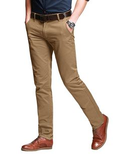 Men's Slim Tapered Stretchy Casual Pant 8103 – 8106 Khaki – Cl… – Men's style, accessories, mens fashion trends 2020 Kaki Pants, Khaki Pants Outfit, Casual Pants, Men Casual, Men's Pants, Casual Wear, White Pants, Work Casual, Smart Casual