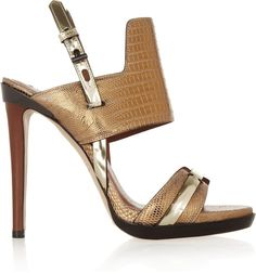 Reed Krakoff Metallic Lizard and Leather Sandals in Gold