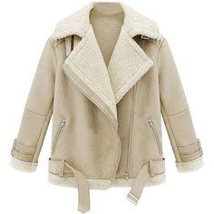 Shearling Lapel Biker Coat ($59) ❤ liked on Polyvore featuring outerwear, coats, jackets, lapel coat, brown coat, sheep fur coat, shearling collar coat and collar coat