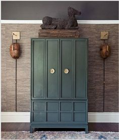 Love the mix of textures, materials, and neutral tones. Softer than most of the other looks. This color teal appeals for a painted piece.