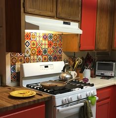 U put up talavera tile stickers as a backsplash. I painted hey first to look like grout btw the tiles.  https://www.amazon.com/gp/aw/d/B01CL7R67O/ref=psdcmw_2445485011_t2_B01FKS011Y