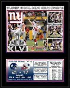 """NFL New York Giants Super Bowl XLVI Sublimated Plaque by Mounted Memories. $44.99. Collectible NFL® plaque. Officially licensed Made in USA. Plaque Dimensions: W 15"""" x H 12"""" x D 1""""Ready to hang in any home or office. Sublimated with 8"""" x 10"""" color photo of Super Bowl® XLVI champions. PLHFGIA550 Features: -Color: Black. -With an 8"""" x 10"""" image from Super Bowl XLVI sublimated onto a black plaque. -Ready to hang in your home or office. -Officially licensed by Nation..."""