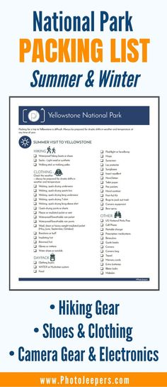 National Park packing list for summer and winter: hiking ear, shoes & clothing, camera gear and electronics Packing List For Vacation, Packing Tips, Travel Packing, Vacation Deals, Rv Travel, Travel Deals, Train Travel, Travel Hacks, Travel Essentials
