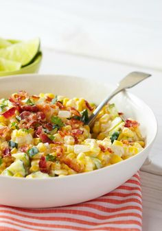 Creamy Corn & Zucchini -- Fresh corn kernels. Zucchini. Mexican-style cheeses, sour cream and bacon. Sometimes you can tell you'll like a vegetable dish recipe before you've even made it!