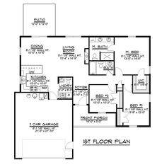 Ranch Traditional House Plan 50728 Level One