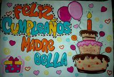 Pancarta de cumpleaños colorida para mama Notebook Art, Ideas Para Fiestas, Illustrations And Posters, Pumps, Birthday Decorations, Diy Cards, Bff, Birthdays, Happy Birthday