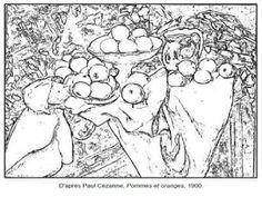 Coloriage Paul Cézanne Pommes et oranges