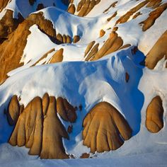 Homage to Lawren Harris, Fresh Snowfall on Badlands near Drumheller, Alberta, Canada