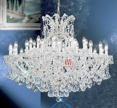 Free shipping chic chrome chandelier lamp 31 lights hanging candle chandelier for dining room C9335 109cm W x 84cm H