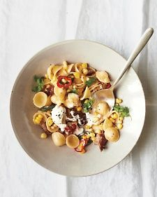Orecchiette with Sausage, Corn, and Chiles.  If you prefer a milder pasta, go light on the chiles.