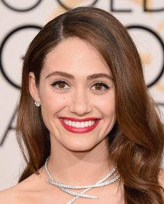 What do you think about Emmy Rossum's hair and makeup look from the #GoldenGlobes red carpet?