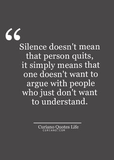 """Silence doesn't mean that a person quits, it simply means that one doesn't want to argue with people who just don't want to understand."""