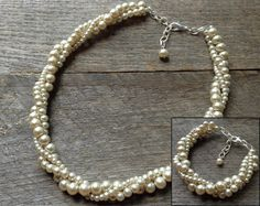 Champagne Necklace Bracelet Set Pearl by haileyallendesigns, $45.00