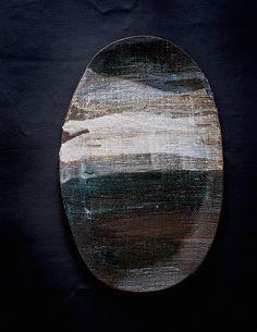 Image of Large Platter - layered ocean #29