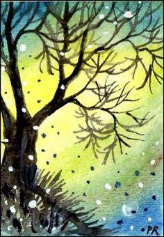 Original Art - ACEO - Mystic Tree - by Patricia Ann Rizzo