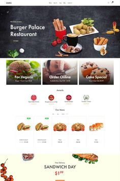 """Coro is a clean, minimal, creative and modern eCommerce theme for WordPress platform. Powered by WordPress' most popular eCommerce platform """"WooCommerce"""", Coro can be the too Minimal Web Design, Ux Design, Burger Palace, Sandwich Day, Wordpress Theme Design, Web Design Services, Landing Page Design, Website Themes, Organic Recipes"""