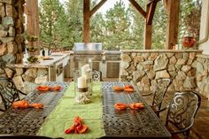 With sweeping views of the mountains and the welcoming warmth of the fire, this rustic patio  is the best seat in the house.