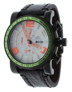 Adee Kaye AK7233-MIPB/GN Mens Watch Chronograph White Dial Dark Brown Strap