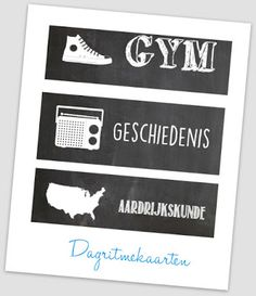 Dagritmekaarten bovenbouw. Free printable! Chalkboard. Blog: one of a kind.